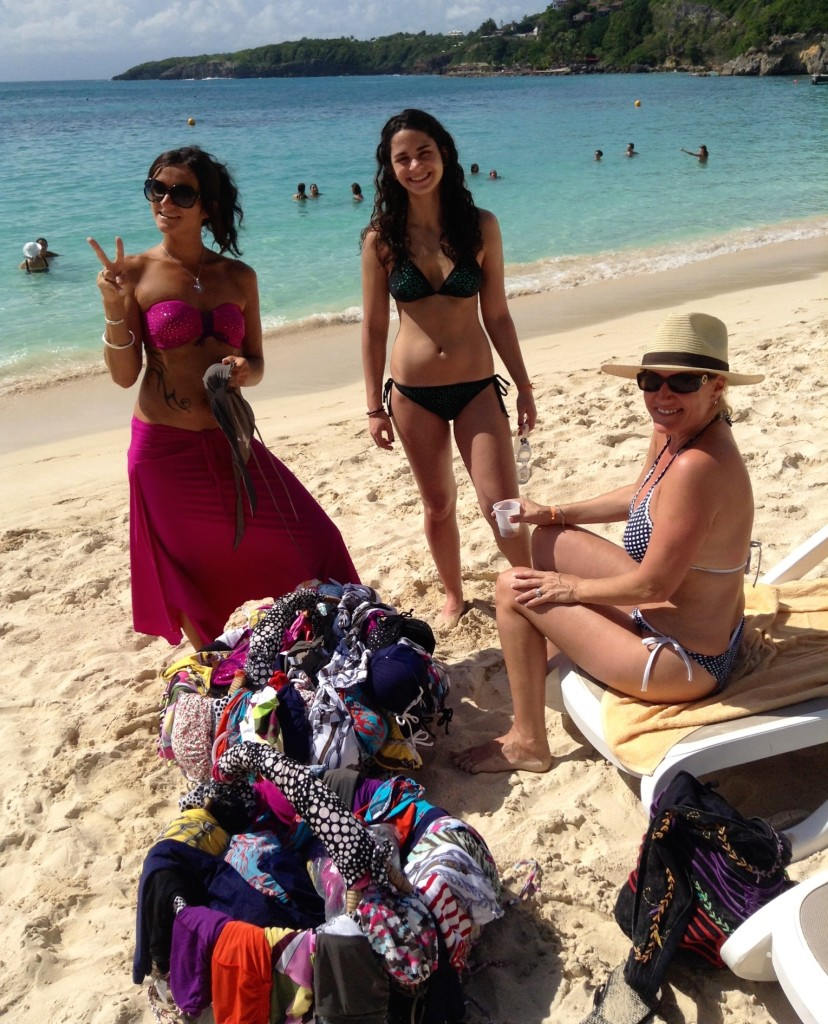 Club Med La Caravelle Beach Vendor selling swimsuits, Guadeloupe