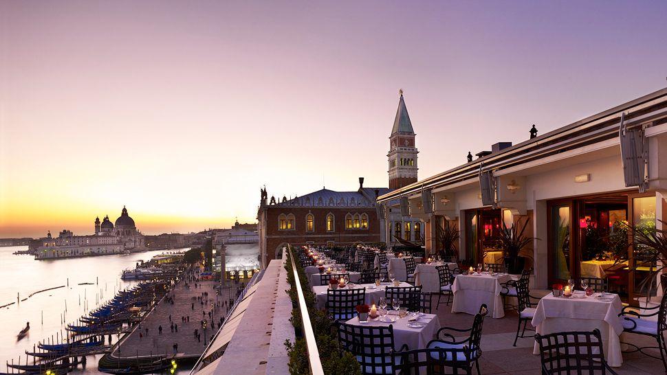 View at sunset at Restaurant Terrazza Danieli, Venice