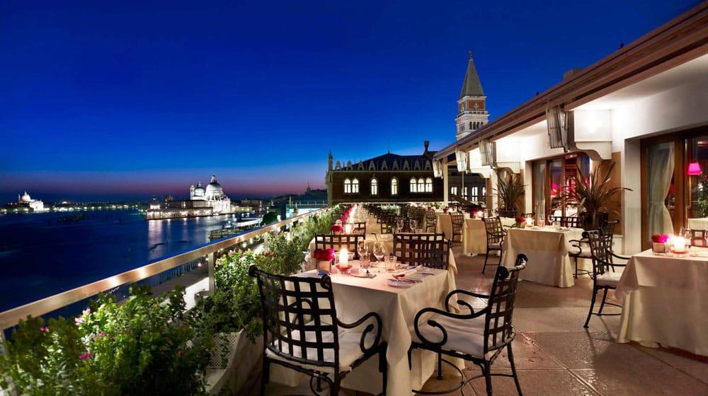 Evening View at Restaurant Terrazza Danieli, Venice