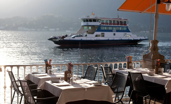 Hotel Metropole Lake Como, looking at the ferry service from the restaurant