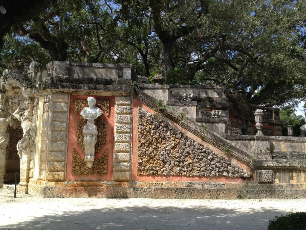 Statues and Sea rocks at Vizcaya Gardens, Miami