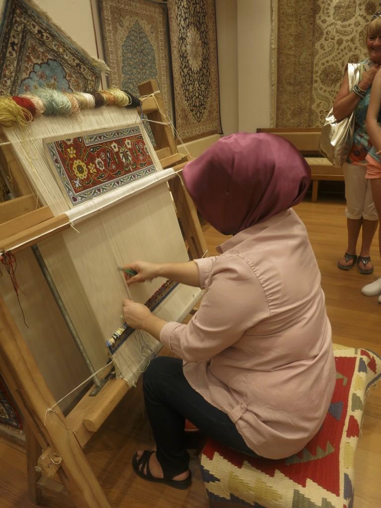 Turkish Woman Making Rugs