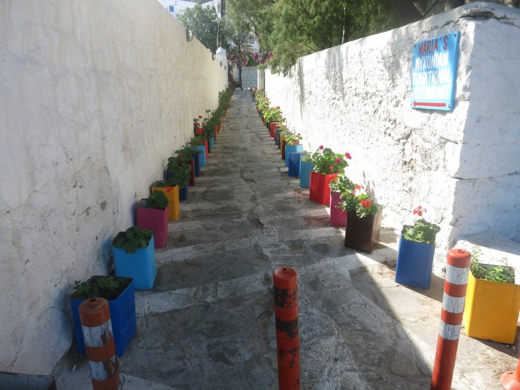 Steps in the town of Mykonos, Greece