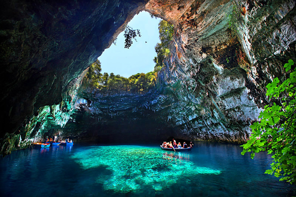 Opening in Melissani Cave, Kefalonia Greece