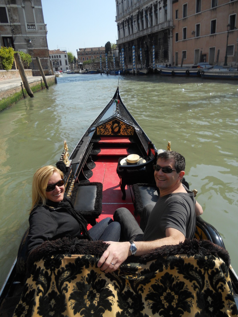 On the gondola in Venice