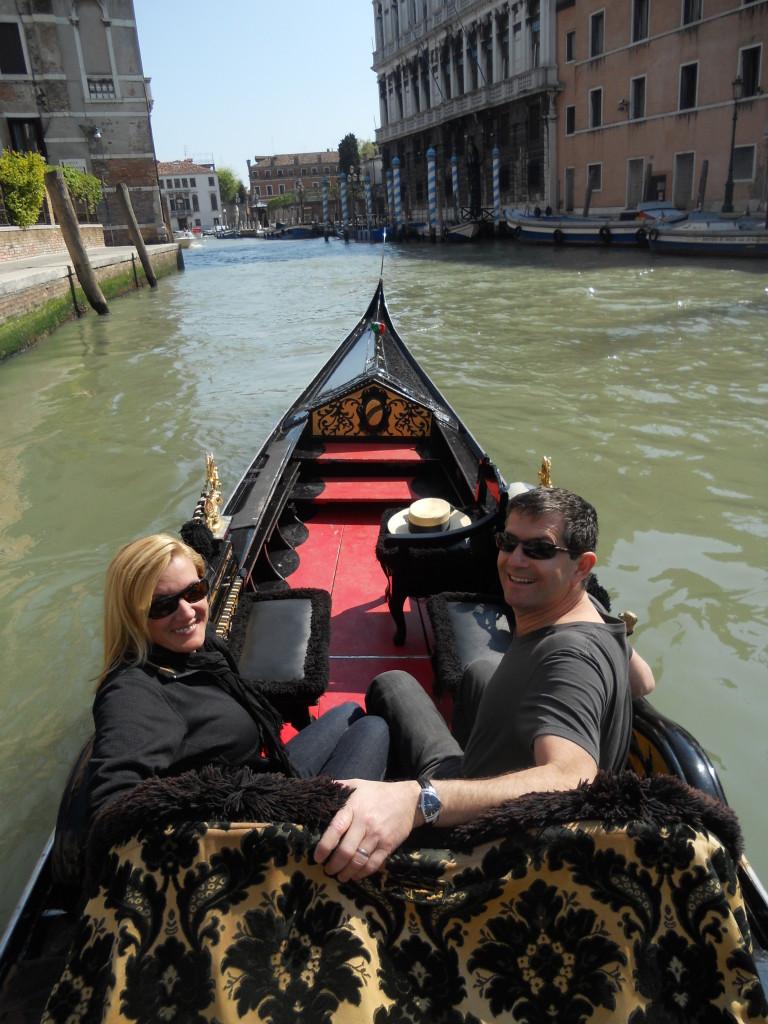 On the gondola in Venice