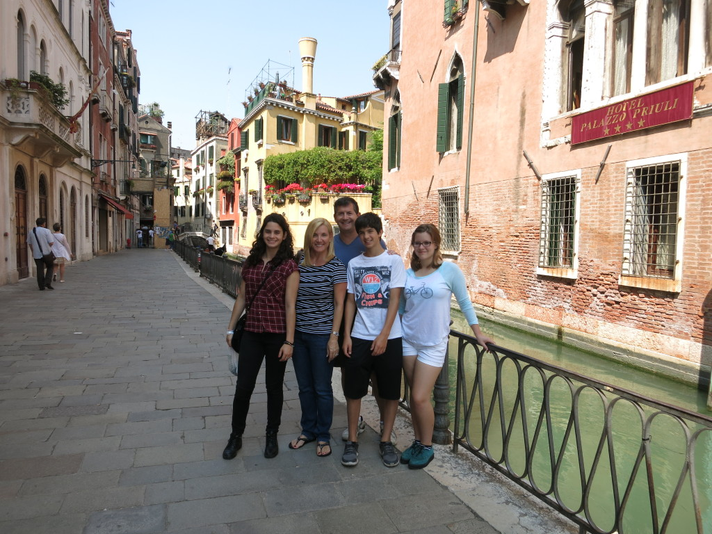 Family photo in Venice, Italy