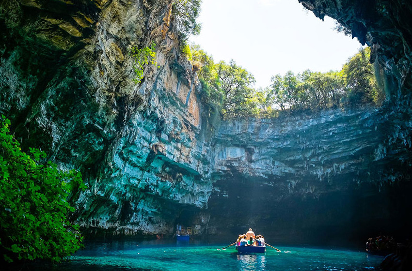 Opening at Melissani Cave, Kefalonia Greece