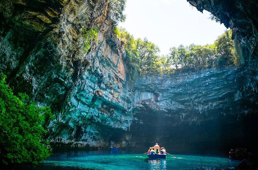 Opening at Melissani Cave, Kefalonia Greece