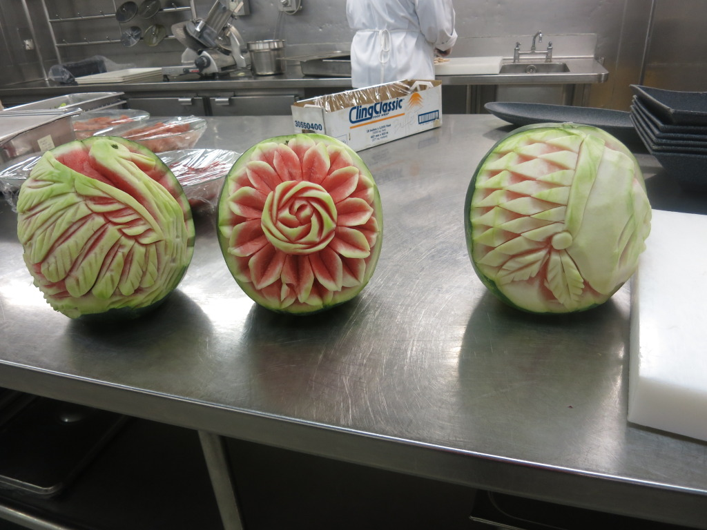 Carved Watermelons at Splendour of the Seas Galley
