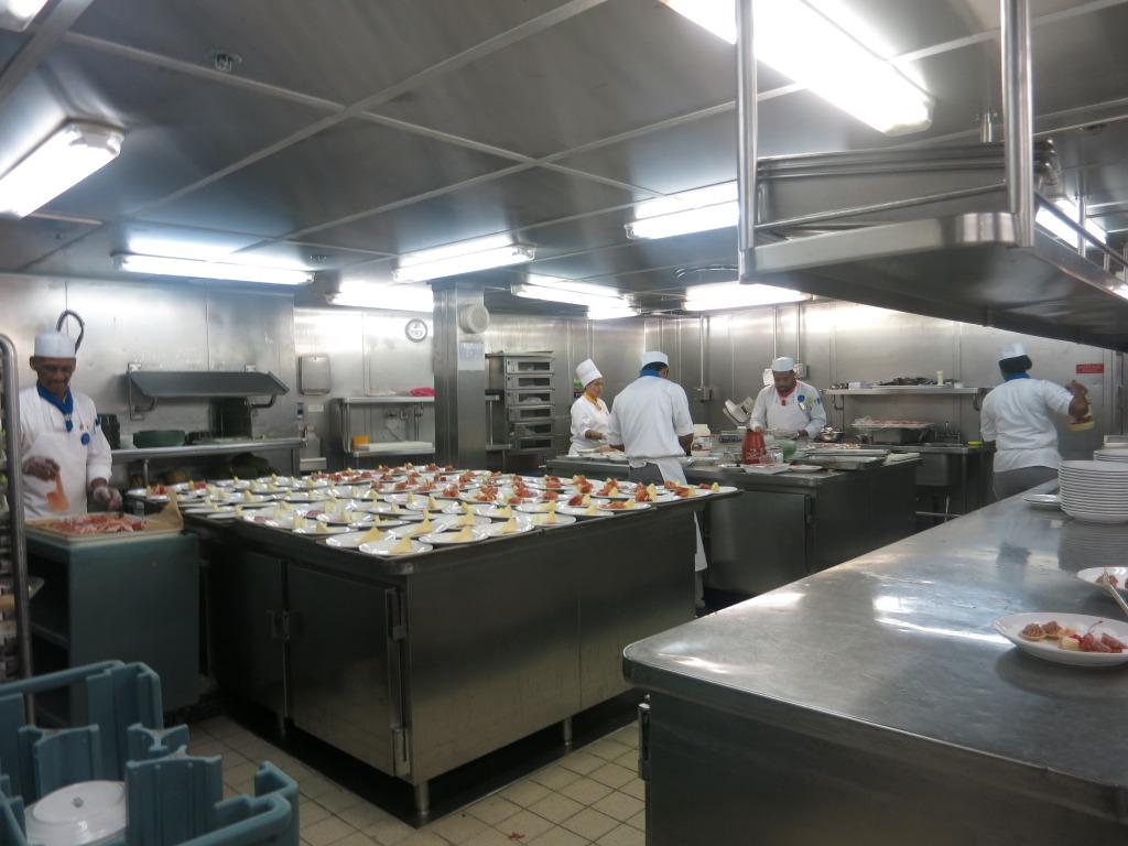 Food being prepared in the Galley of Splendour of the Seas
