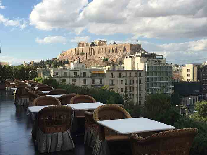 "Roof Garden ""Ioannis"" Bar Restaurant view of the Acropolis from the 7th Floor of Royal Olympic Hotel"