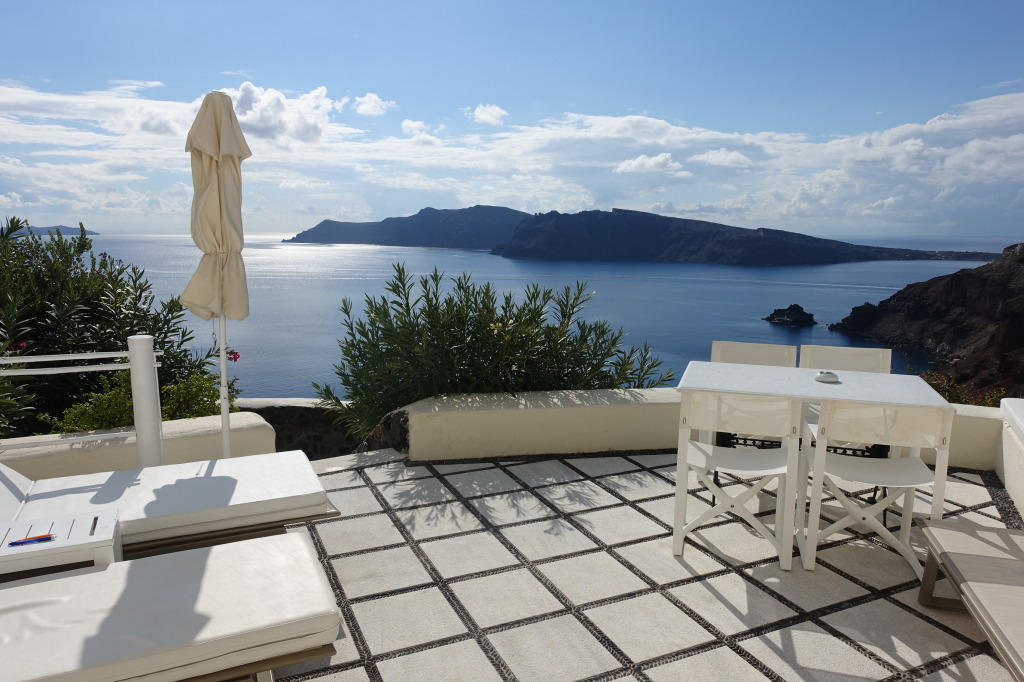 Canaves Oia Suites balcony view, Santorini Greece