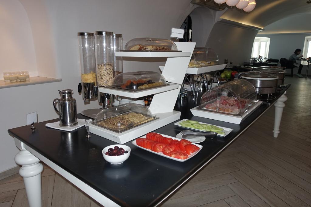 Canaves Oia breakfast buffet , Santorini, Greece