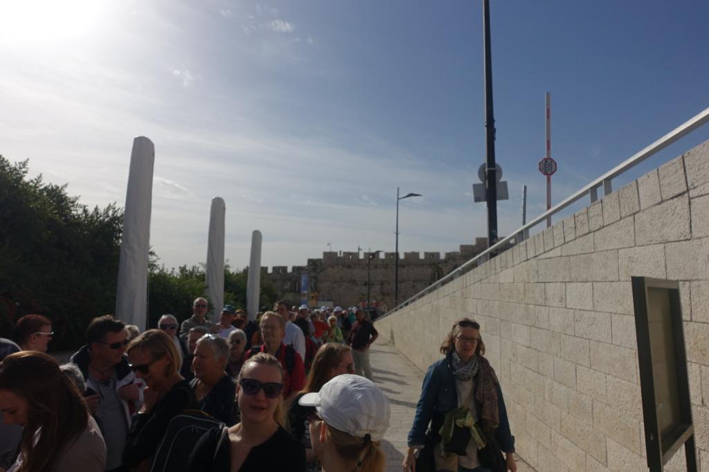 Crowds waiting at entrance to Temple Mount, Jerusalem