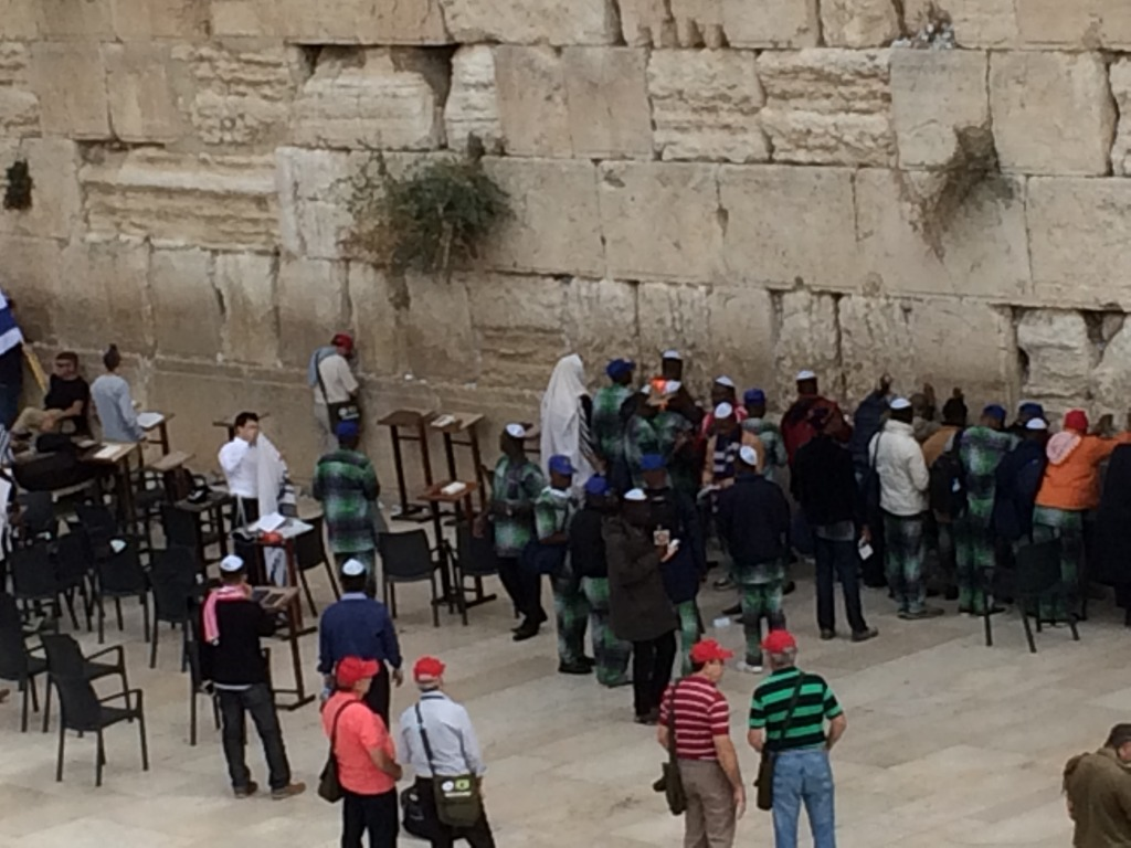 Men praying at The Wailing Wall, Jerusalem