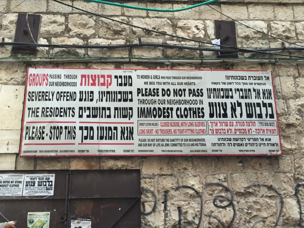 Signs in the Hasidic Jewish neighborhood  Mea Shearim, Jerusalem