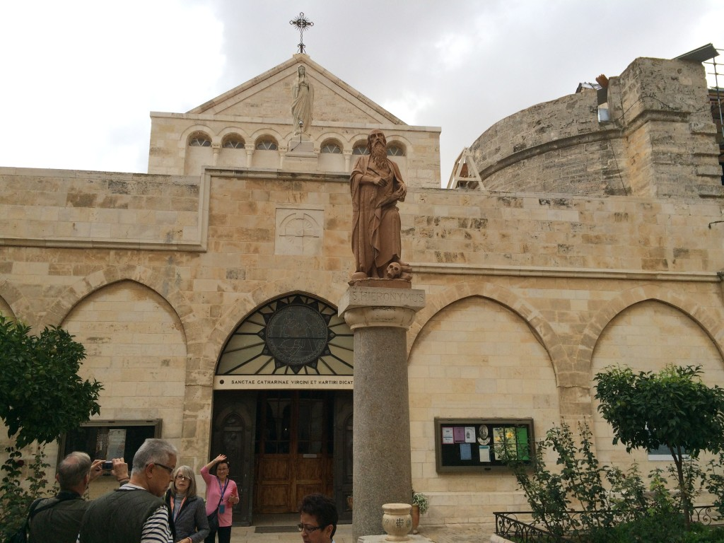 In front of the courtyard of the Catholic Church of St. Catherine