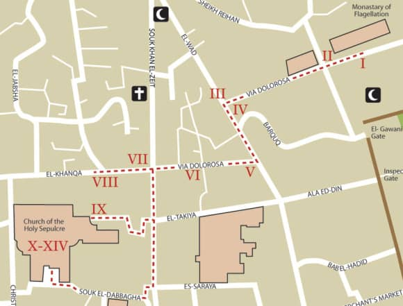 Via Dolorosa 14 Stations of the Cross Map
