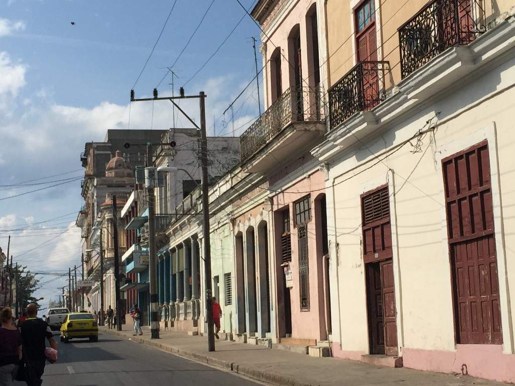 Colorful Buildings on the street of Cienfuegos, Cuba