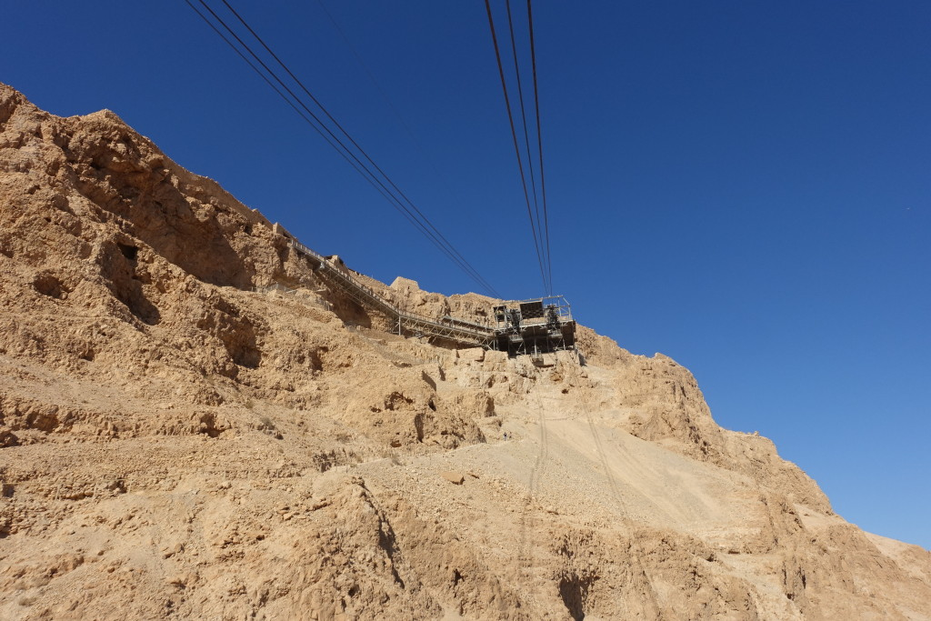 Heading up on the Cable Car to Masada