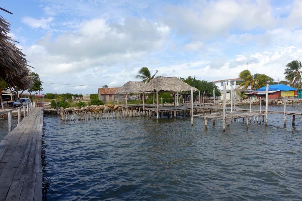 Tiki hut restaurants in the water in Isabela de Sagua, Cuba