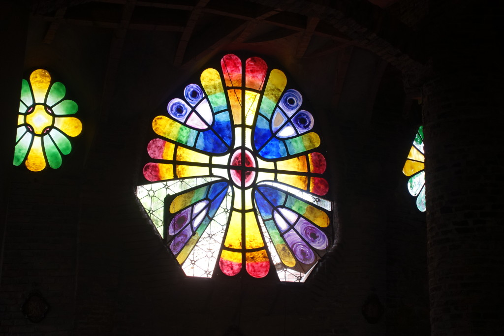 Colored Stain Glass Windows opening in Gaudi's Crypt - Colonial Guell