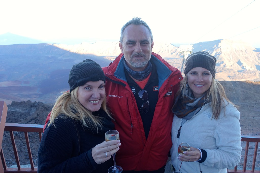 Enjoying a glass of Champagne with our guide from Volcano Life Experience