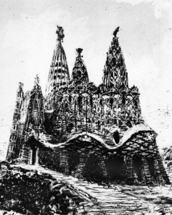 Colonia Güell. Original drawing for La Cripta Güell. Photo: Wikipedia.