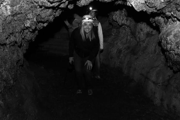 Complete darkness except for my helmet light, Lava Cave (Cueva del Viento) in Icod de Vinos