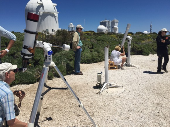 Telescopes set up to watch the sun - Teide Observatory
