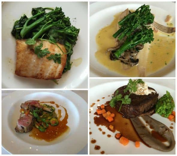 Dinner menu selections at Dromoland Castle