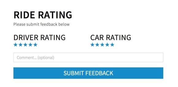 Blacklane Ride Rating Screen