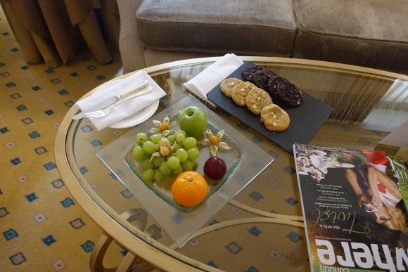 Welcoming Tray of Fresh Food and Cookies in our room