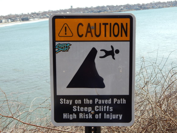 Caution Signs Along Cliff Walk