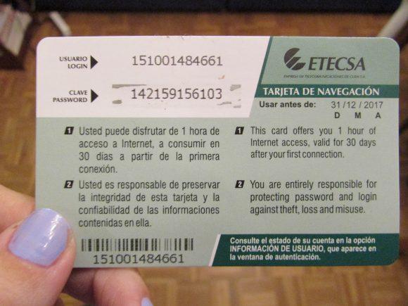 Internet browsing card in Cuba