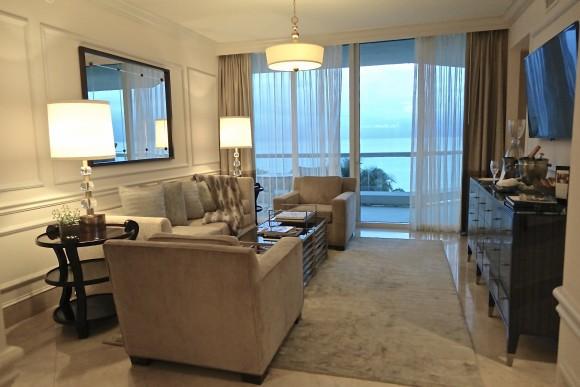 One Bedroom Ocean Front Living Room Area at Acqualina Resort