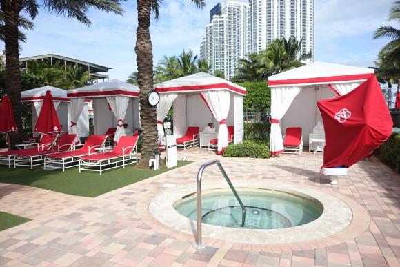 Cabanas around the pool area of Acqualina Resort