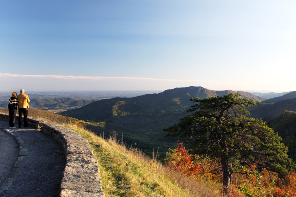 Mountain view of Shenandoah National Park at the fall