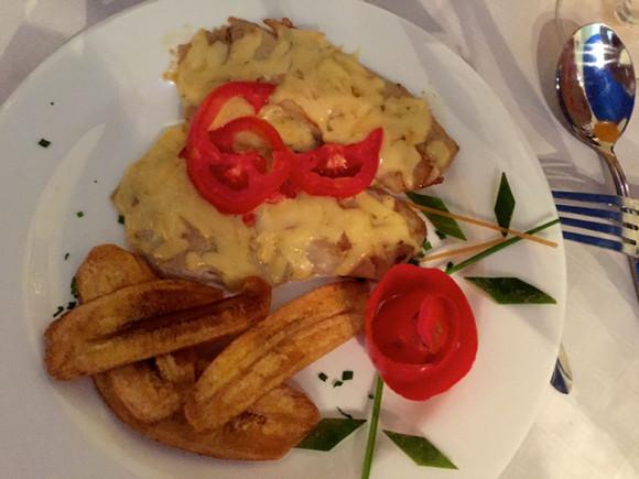 Delicious pork chop dinner at Casa Ariana