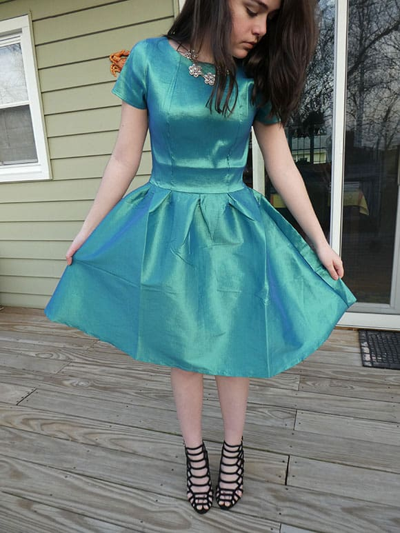 Modeling the Short Sleeve Nutcracker Dress in Green