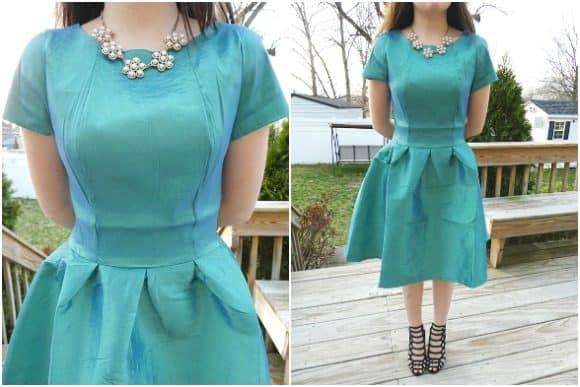 The Neckline of the Short Sleeve Nutcracker Dress in Green