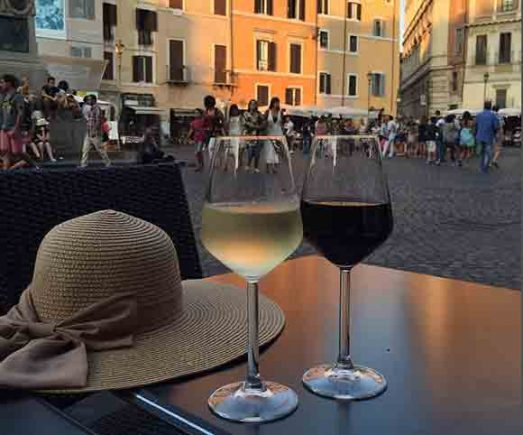 A glass of wine in Rome