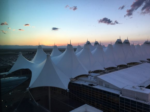 My view of the roof-top tents at Denver International Airport from my Junior Suite at the Westin DIA