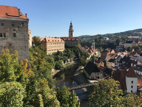 Overlooking the town of Cesky Krumlov from the castle