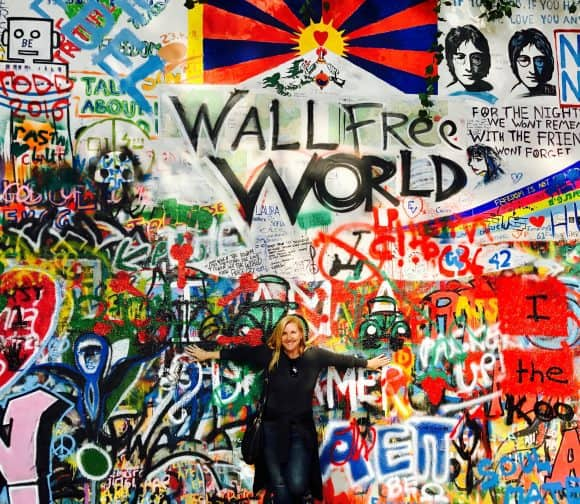 Standing in front of the John Lennon Wall in Prague