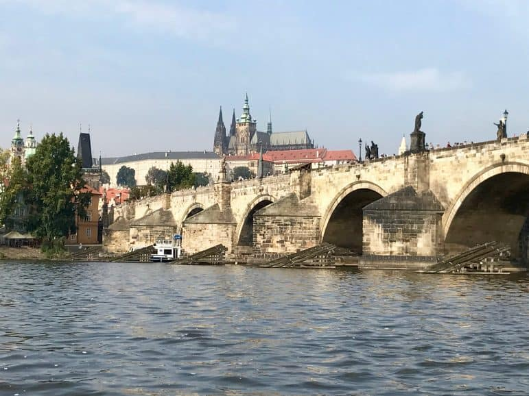 A view of the Charles Bridge from our Vitava River cruise