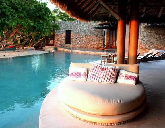 Comfortable lounges at the pool at Casa Majani