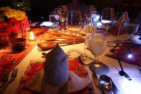 The dinner table at Casa Majani