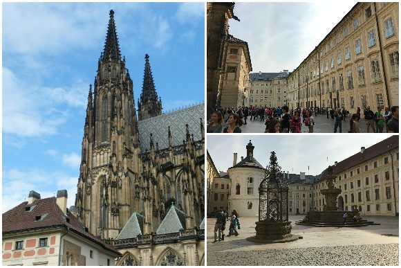 Prague Castle grounds, and a view of St. Vitus Cathedral